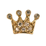Crown - Brass or Gold & CZ Charm